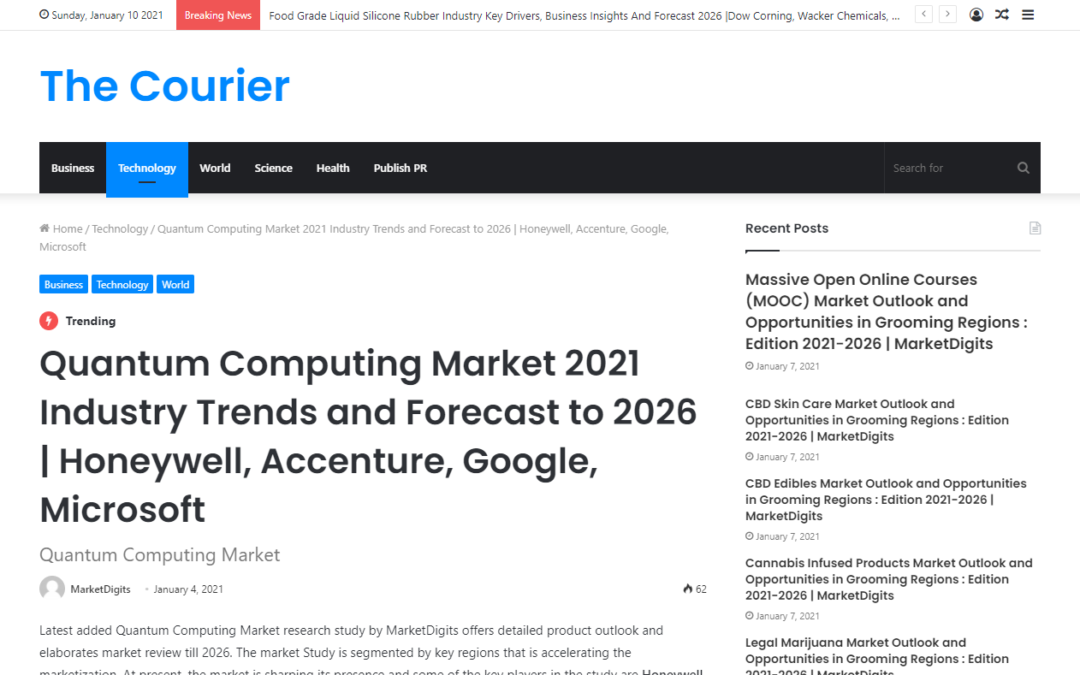Quantum Computing Market 2021 Industry Trends and Forecast to 2026 | Honeywell, Accenture, Google, Microsoft (mccourier.com)